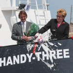Marcy Kaptur bottle smashing at HANDY-THREE christening