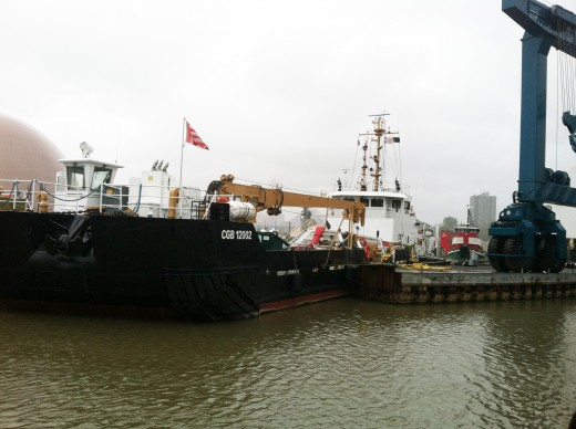 USCG Cutter MOBILE BAY with ATON Barge