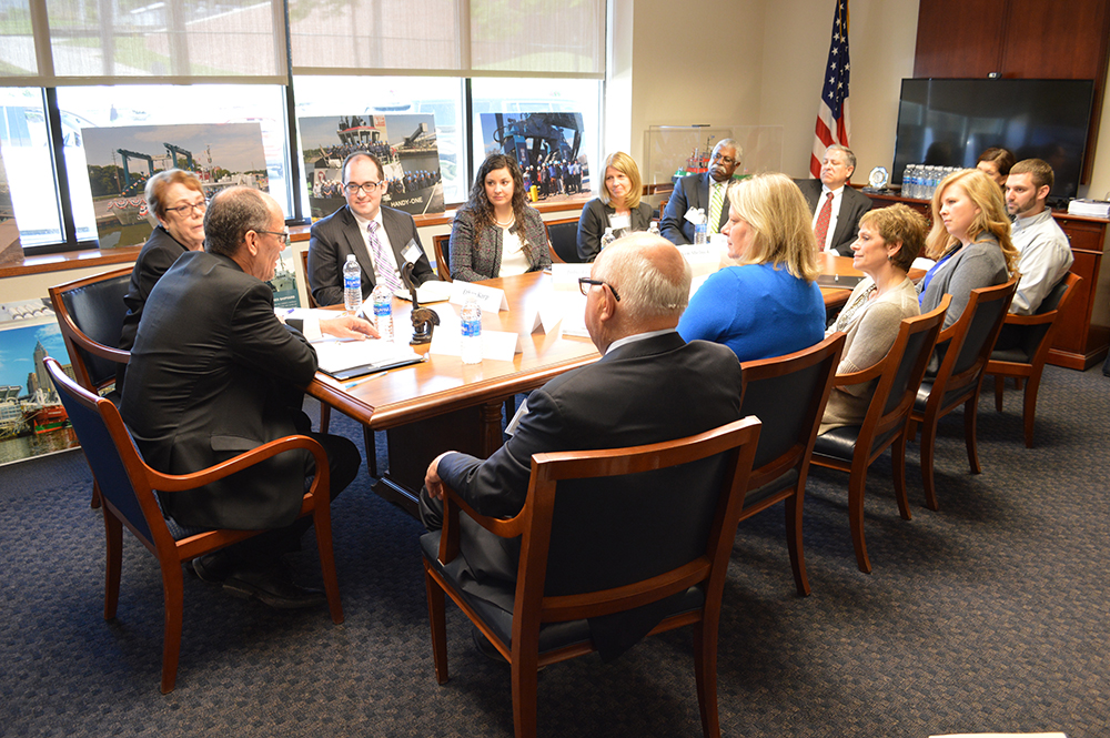 Pictured Above: Attendees at the Cleveland-Cuyahoga County Workforce Investment Board roundtable discussion hosted at The Great Lakes Towing Company's headquarters in Cleveland, Ohio.