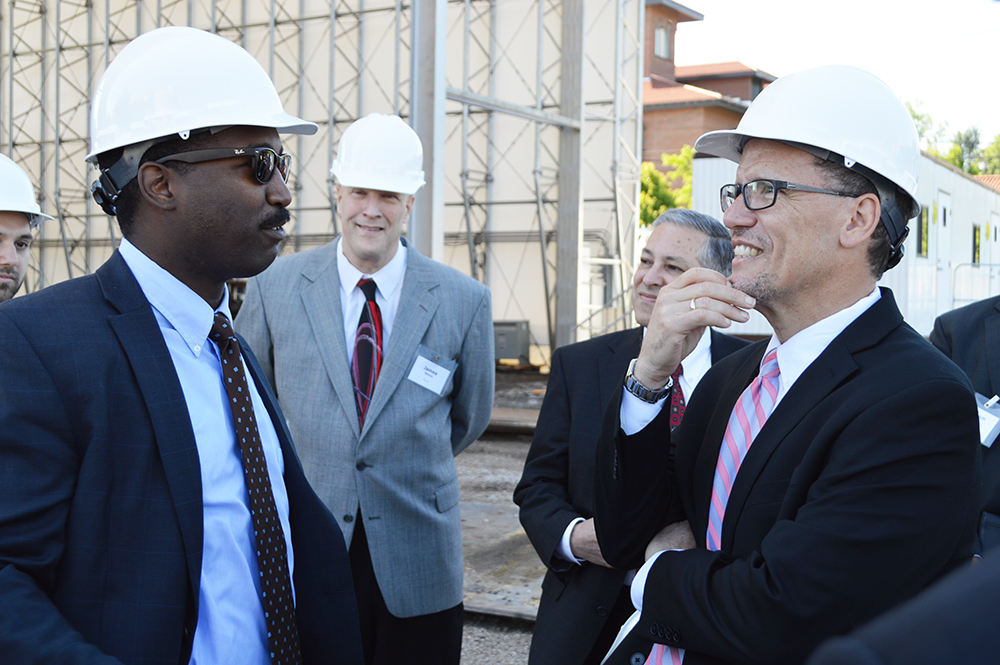 Featured in Foreground: Julius Stafford, Assistant Fleet Engineer; Thomas Perez, U.S. Secretary of Labor. Stafford attended Max S. Hayes High School prior to joining Great Lakes Shipyard and The Great Lakes Towing Company.
