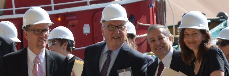 Pictured in the Foreground: Thomas Perez, U.S. Secretary of Labor; Ronald Rasmus, Chairman, The Great Lakes Towing Company; Armond Budish, Cuyahoga County, County Executive; Sharon Sobol Jordan, Chief of Staff, Cuyahoga County.